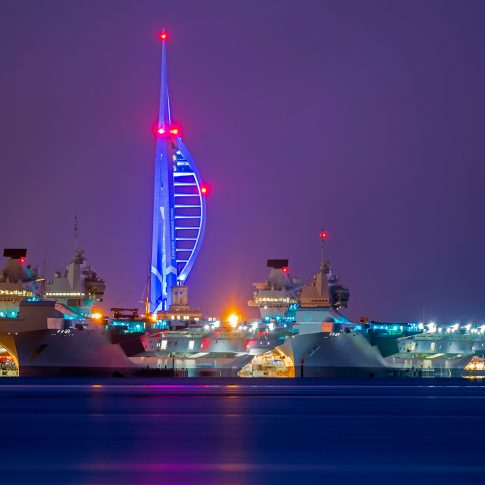The Queen Elizabeth class aircraft carriers alongside Portsmouth naval base.