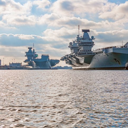 The two Queen Elizabeth aircraft carriers at Portsmouth naval base.